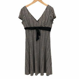 Dressbarn Womens Faux Wrap Dress Black Tie knot XL